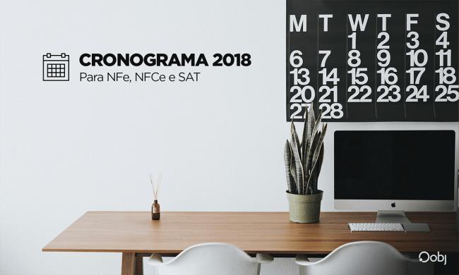 cronograma 2018 de obrigatoriedades fiscais