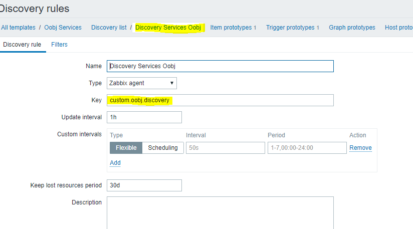 """Na configuração do Discovery foi inserido um Name, type """"zabbix agente"""", e uma key (a qual será criada no zabbix cliente, denominada de: custom.oobj.discovery). Essa configuração tem a verificação dos serviços do servidor a cada 1h. Esse tempo é visto como ideal, porque normalmente os serviços não são instalados com tanta frequência. Porém, na primeira vez é possível agendar um intervalo de tempo menor. Além disso, mais a frente, essa mesma key também é criada no zabbix-client."""